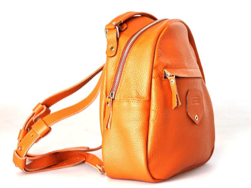 Рюкзак кожаный женский оранжевый