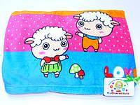 Детский флисовый плед ( разноцветный с барашками)