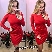 Платье трикотажное короткое с длинным рукавом