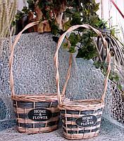 Набор 2 шт. кашпо-корзинок из лозы овальной формы с высокой ручкой для цветочных композиций