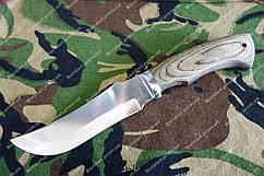 Нож с мощным клинком и  деревянной ручкой сталь 440с