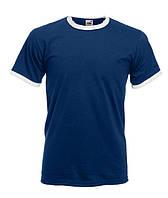 Модная мужская футболка синяя с белой окантовкой