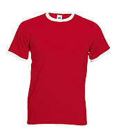 Мужская двухцветная футболка RINGER T ― 61-168-0 красная с белым