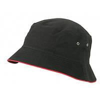 Хлопковая панама MB012 черная с красной окантовкой