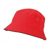 Хлопковая молодежная панама MB012 красная с черной окантовкой