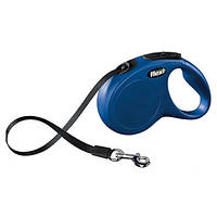 FLEXI NEW CLASSIC Поводок-рулетка для мелких собак, 5м (лента), до 15 кг, синий