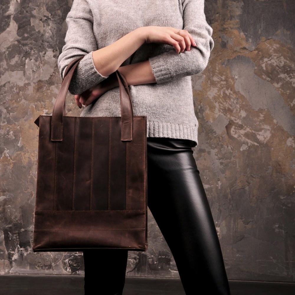 Сумка-шоппер кожаная женская коричневый