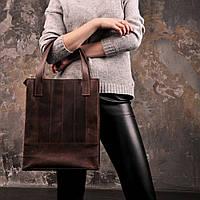Сумка-шоппер кожаная женская коричневый, фото 1