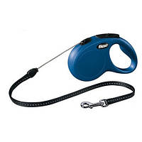 FLEXI NEW CLASSIC Поводок-рулетка для мелких собак, 5м (трос), до 12 кг, синий