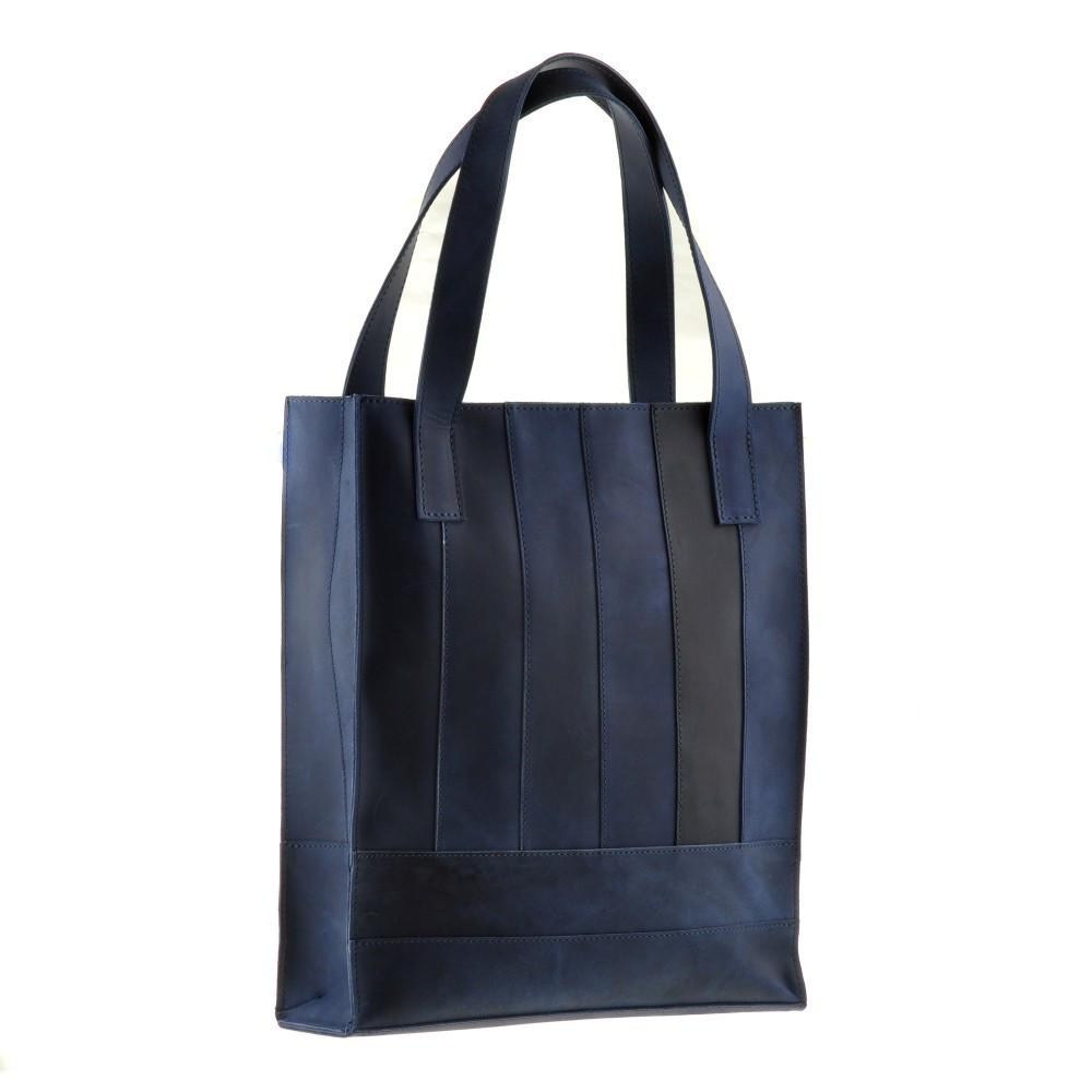 Сумка-шоппер кожаная женская синий