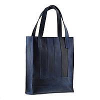 Сумка-шоппер кожаная женская синий, фото 1