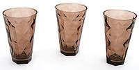 Набор стеклянных стаканов 375мл (3шт) коричневый