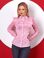 Женская рубашка розового цвета с рюшами, длинный рукав. Модель 382.