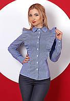 Женская рубашка с длинным рукавом синего цвета с рюшами. Модель 382.