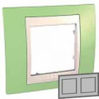 Рамка 2-местная горизонтальная Unica Plus (зелёное яблоко/слоновая кость)
