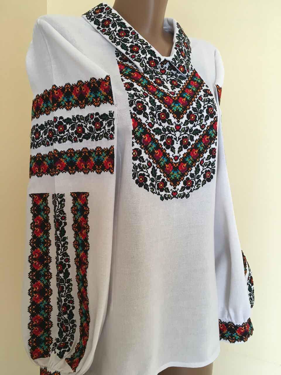 Жіноча вишиванка біла домоткане полотно Борщівська розмір 42-44 (S-M) -  Скарбниця Карпат d4722bae4a68e