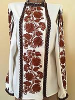 Вишита жіноча блуза гладдю з ажурним кружевом розмір 42-44, фото 1