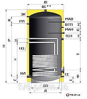 Бойлер 1500 литров косвенного нагрева для горячей воды (ГВС)