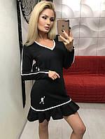 Женское короткое приталенное платье в двух цветах. Материал трикотаж стрейчевый. Размер 42,44,46