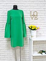Платье зеленого цвета с широкими рукавами на сборке ХИТ ПРОДАЖ