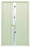 Дверь КВАДРА ЗЛАТА экошпон: венге 3D, дуб жемчужный, кедр, ясень патина, сандал (зеркало с рисунком) тип1
