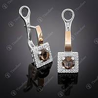 Серебряные серьги с раухтопазом и фианитами. Артикул С-380