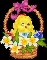 Декоративные стенды к Пасхе Цыплёнок в корзине
