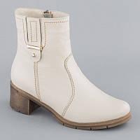 Белые кожаные ботинки на каблуке 38,40,41р