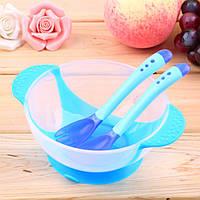 Детский набор термо посуды для кормления миска вилка ложка цвет синий