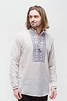 Льняная мужская вышиванка Орий Серая