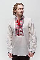 Льняная мужская вышиванка Орий Красно-Серая