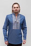 Мужская вышиванка Орий Серая на джинсе