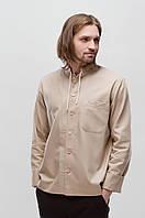 Рубашка мужская с вышитыми деталями Светлогор Бежевая