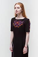 Платье с вышивкой Мира черное