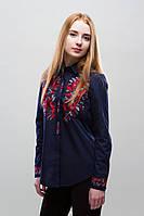 Женская рубашка с вышивкой Цветы синяя