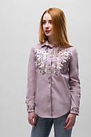Женская рубашка с вышивкой Цветы бежевая