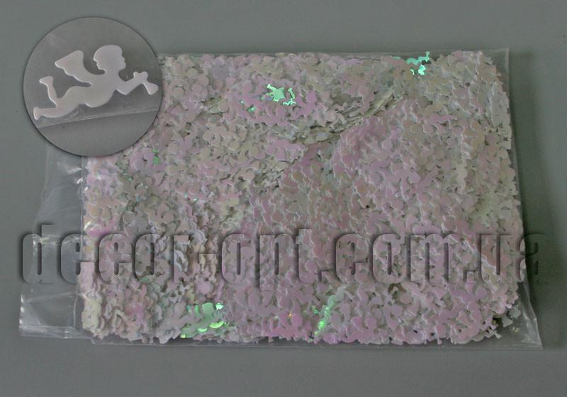 Пайетки Ангел белые голограмма 2,0см 100 гр