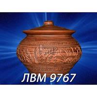 Жаровня 4л Светлый красная глина ЛВМ-9767