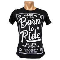 Мужская черная футболка Born to Ride - №2202
