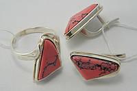 Комплект женских серебряных украшений с розовым ларимаром