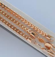 Красивый комплект Xuping покрытие золотом 18к. цепочка + браслет квадратное плетение колос.