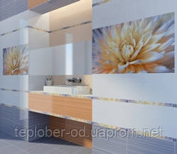 Керамическая плитка Fiori оранжево-голубой