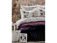 Набор постельное белье с покрывалом Karaca Home - Lucca 2017-1 purple евро