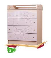 """Детский пеленальный комод """"Kiddy 3"""" (Размер: 90х80х47 см) ТМ Вальтер-С Венге светлый - розовый KD-1. K8"""