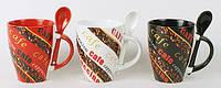 Кружка керамическая 310мл ложкой Coffee, 3 вида BonaDi FN33