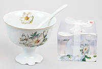 Набор: креманка фарфоровая с керамической ложкой Белый цветок BonaDi YG053