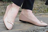 Балетки, туфли женские лаковые бежевые удобные