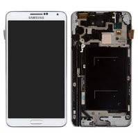 Дисплей для мобильных телефонов Samsung N900 Note 3, N9000 Note 3, белый, с сенсорным экраном, с рамкой, original (PRC)