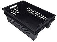 Ящик пластиковый Чёрный дно сплошное-перфорированные стенки  600х400х200
