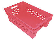 Ящик пластиковый Красный перфорированные стенки дно сплошное 600х400х200